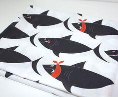 Quilting Cotton -Shark fabric - White & Black versions ( Fat quarter) ready to ship. $9,50, via Etsy.