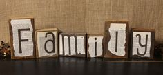 Primitive country style decor for your home. Love My Family, My Love, Decorating Ideas, Craft Ideas, Block Lettering, Wooden Letters, Country Primitive, Country Style, Artsy