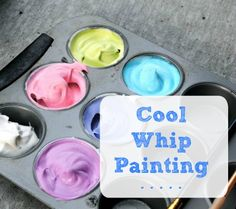 What a fun and tasty sensory activity! #creativemamas #sensoryplay #coolwhip