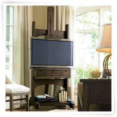 Great Rooms Media Easel TV Stand - Whiskey Barrel