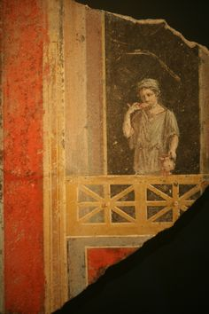 Wall Fragment (Fresco) of a Woman on a Balcony, Plaster and Pigment, Roman, 9 BC-A.D.14, Getty Villa, Malibu, California, USA