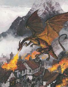 'Smaug Attacks the Town of Dale' by Ted Nasmith, featured in Silver Leaves issue #4