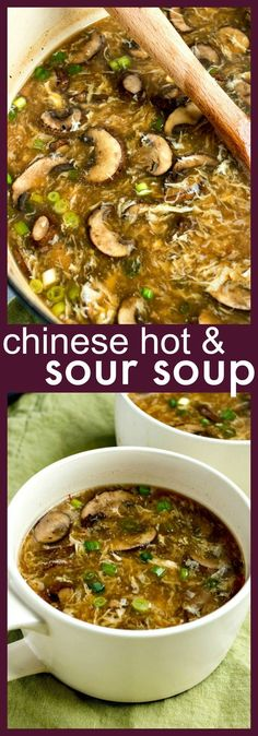 Chinese Hot & Sour Soup – Comforting Chinese soup, loaded with pork and mushrooms and spiced with garlic chili sauce and rice wine vinegar to give it a delicious hot & sour flavor. Food Recipes For Dinner, Food Recipes Homemade Chinese Chicken Recipes, Easy Chinese Recipes, Asian Recipes, Healthy Recipes, Best Chinese Dishes, Chinese Meals, Chinese Desserts, Meat Recipes, Recipies