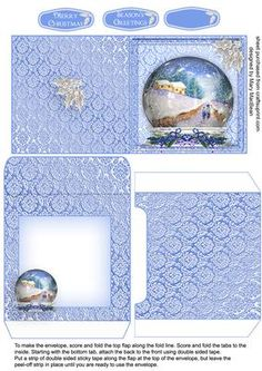 """Walk in the Snow mini card and envelope on Craftsuprint designed by Mary MacBean - A mini card and envelope which matches my Walk in the Snow Christmas Snowglobe card . The finished card is about 3.5"""" square. It can be used as a gift card or a little greetings card. There are 2 greetings or a blank tag for your own message.  - Now available for download!"""