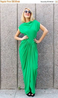 ON SALE 40% OFF Maxi Green Dress / Loose Long Dress / by Teyxo