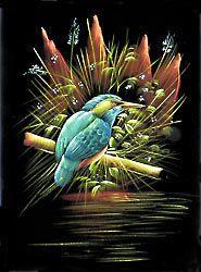 Kingfisher - Painting on Velvet Cloth