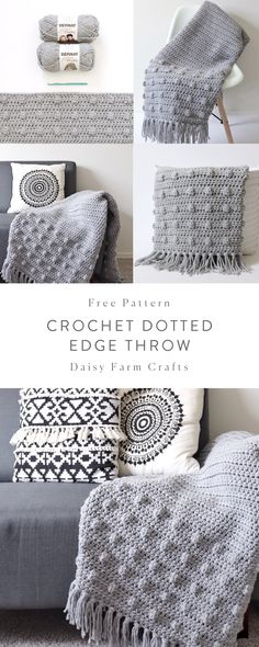 Crochet Afghans Free Crochet Pattern - Crochet Dotted Edge Throw - I finished this crochet dotted edge throw over the weekend and I'm excited to send it off this week… Crochet Afghans, Crochet Stitches Patterns, Crochet Edgings, Crochet Edges For Blankets, Crochet Throw Pattern, Crochet Blanket Edging, Crochet Throws, Modern Crochet Patterns, Cross Stitches