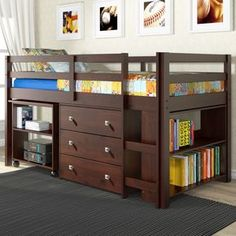 Make the most of a smaller room with this loft bed set. The roll-out desk offers a convenient work area for homework or projects, while the two-shelf bookcase and three-drawer chest provide tidy displ
