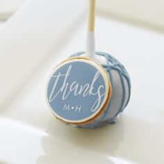Thanks Calligraphy Couple's Shower Light Blue Cake Pops - calligraphy gifts custom personalize diy create your own