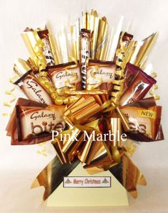 This bouquet was designed with the thought of pure luxurious Galaxy chocolate in our minds. It is packed with Galaxy chocolate and would make an excellent gift.