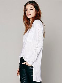 NWT Free People New Romantics Gigi Knit Tee Long Sleeve Pullover Top White Med. #FreePeople #KnitTop #Versatile