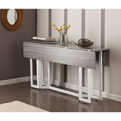 Holly U0026 Martin Driness Drop Leaf Console Dining Table, Weathered Gray  Finish With White Metal Base