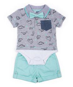 Look at this #zulilyfind! Heather Gray & Aqua Dinosaur Layered Polo Set - Infant #zulilyfinds