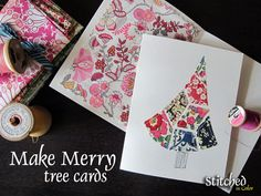 Make Merry cards {tutorial} by StitchedInColor, via Flickr