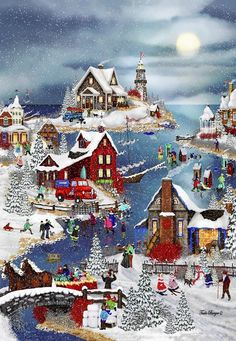 """Winter at Big Fish Bay"" ~ a 250 piece wooden jigsaw puzzle by Wentworth Wooden Jigsaw Company. Artist: Tuula Burger©"