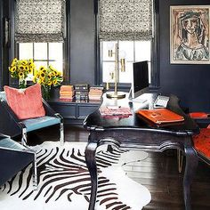 Office with Navy Blue Walls - Transitional - Den/library/office ...