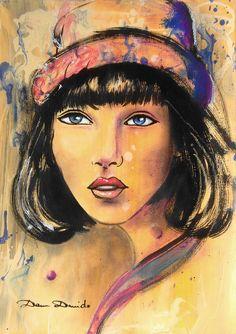 """Peinture contemporaine, Portrait expressionniste """"L'inconnue du ..."""