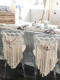 Macrame Chair Covers, macrame wedding chair back Macrame Chairs, Boho Dekor, Restoration Hardware Dining Chairs, Wayfair Living Room Chairs, Dining Room, Most Comfortable Office Chair, Wrought Iron Patio Chairs, Lace Decor, Macrame Projects