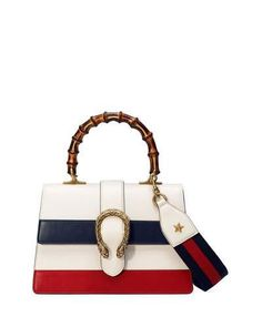 GUCCI Dionysus Small Web-Stripe Top-Handle Satchel Bag, White. #gucci #bags #leather #lining #satchel #shoulder bags #linen #hand bags #cotton #