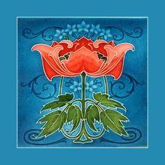 Vintage Art Nouveau Tile with Poppies - Barcelona, Spain Art Nouveau Tiles, Art Nouveau Design, Design Art, Motifs Art Nouveau, Azulejos Art Nouveau, Tattoo Sketch, Art Vintage, Vintage Tile, Antique Art