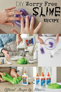 DIY Worry Free Slime Recipe by Elmer's Glue-add 1-2 drops baby oil at end of still sticky
