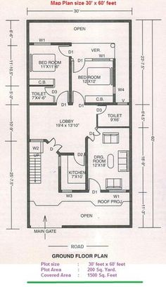 numerology living in a 3 house planing 10 Marla House Plan, 2bhk House Plan, Small House Plans, House Floor Plans, Home Design Plans, Plan Design, Asian House, Indian House Plans, House Map