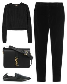 """""""Untitled #4303"""" by michelanna ❤ liked on Polyvore featuring Lanvin, Rebecca Taylor, Miu Miu, Yves Saint Laurent, black, total, polyvoreeditorial and michelanna"""