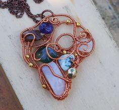Wire Wrap Artisan Assemblage Stones Necklace Rose Quartz Amethyst Agates #Jeanninehandmade #Pendant