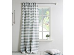 Striped Linen Curtain-Linen Panel with grey by LinenHomeDecor