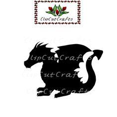 Black Dragon Fantasy Logo Icon Cut File Print and Cut Print & Cut Scrapbook Vector for Print Vinyl and Paper Craft Design StudioSVG SPS PNG