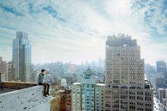 David Karp from Tumblr sitting on the edge of NYC.