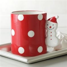 Hallmark red and white Polka Dotted Mug with Snowman Handle