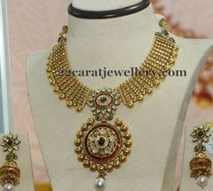 Jewellery Designs: Big Antique Earrings with Necklace