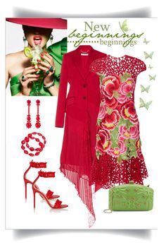 """""""Naeem Khan Floral Embroidered Mini Dress Look"""" by romaboots-1 ❤ liked on Polyvore featuring Été Swim, Givenchy, Naeem Khan, Gianvito Rossi, Valentino, Simone Rocha and Kim Rogers"""