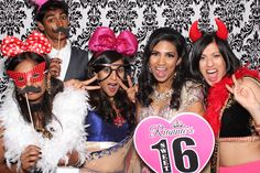 #Sweet16 #PartyRentals #PartyIdeas: #Photobooth with custom made #props and #damask Backdrop by http://www.paradiseevents.com/photo-booth-rental/