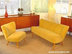 My perfect living room set. Love the Danish Modern sofa set, and the wood side hutch. Mid Century Modern Sofa, Mid Century House, Mid Century Modern Design, Mid Century Furniture, Mod Furniture, Corner Furniture, Furniture Design, Furniture Ideas, Danish Modern