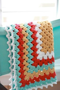 Granny Square Chic Baby Blanket: free pattern link in blog