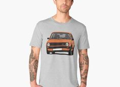 Vintage late German hot hatch VW Golf GTI cornering on classic car t-shirts. Check out also other color options and version without fog lamps. Vw Classic, Golf Videos, Golf 1, Car Illustration, Mk1, Golf Shirts, Volkswagen, Golf Tips, Mens Tops