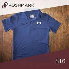 🏌🏽♀️Boys UA NAVY BLUE GOLF SHIRT EUC heat gear youth small (7/8) washed and hung to dry. No stains or tears. All buttons intact. Under Armour Shirts & Tops Polos #GolfShirts