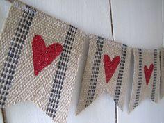 MINI Jute Webbing Red Glitter Hearts  Banner. $24.00, via Etsy.