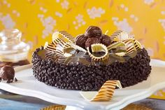 Eggless Chocolate Sponge layered with dark chocolate, coated with dark glaze and silver effect on top Death By Chocolate Cake, Chocolate Sponge, Order Cakes Online, Cake Online, Birthday Cake Video, Chocolate Cake Designs, Bithday Cake, Chocolate Garnishes, Online Cake Delivery