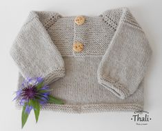 Top Down, Cardigan Bebe, Pull Bebe, Point Mousse, Diy Accessoires, Pulls, Delicate, Knitting, Pattern