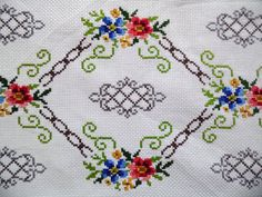 Lovely vintage table runner with beautiful handmade embroidery - cross stitch with floral pattern. very precise fine work In good vintage condition with Cross Stitch Rose, Cross Stitch Embroidery, Baby Dress Patterns, Vintage Cross Stitches, Embroidery Transfers, Crochet Squares, Bargello, Vintage Cotton, Cross Stitch Designs
