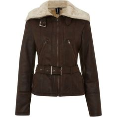 Izabel London Shearling lined aviator jacket ($25) ❤ liked on Polyvore featuring outerwear, jackets, chocolate, coats & jackets, buckle jackets, brown aviator jacket, brown jacket, aviator jacket and shearling lined jacket