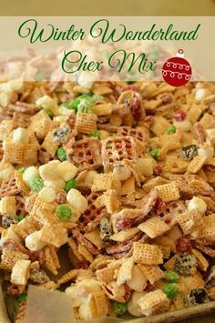 A cute and festive crunch that is unbelievably addicting! We love Chex Mix! Christmas Snacks, Christmas Cooking, Holiday Recipes, Christmas Mix, Christmas Recipes, Christmas Candy, Christmas Goodies, Holiday Ideas, Deserts