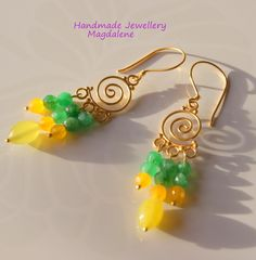 APHRODITE, Jade and 24K gold filigrees Earrings , UK jewellery, UK FREE delivery £18.00