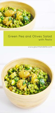 This green pea and olives salad with pesto is an incredibly flavorful warm salad…