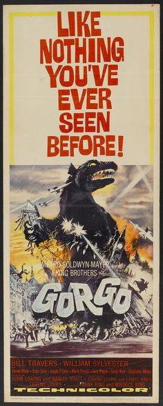 Awesome GORGO (1961) poster! Love the font, the destruction, and the heavy title seemingly dropping as wreckage.