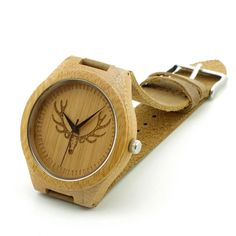 Bobobird RT0459 Mens Deer Head Design Buck Bamboo Wooden Watches Luxury Wooden Bamboo Watches With Leather Quartz Watch