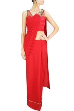 Red metallic bird embroidery sari. BY GAURAV GUPTA. Shop now at: www.perniaspopups... #perniaspopupshop #designer #stunning #fashion #style #beautiful #happyshopping #love #updates